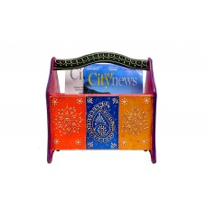 Wooden Ethnic Multicolored Magazine and Book Holder