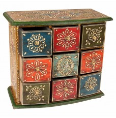 11 Inch Tall Ethnic Almirah with 9 Drawers