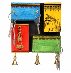 Dhokra Warli Wood Key Holder Wall Décor