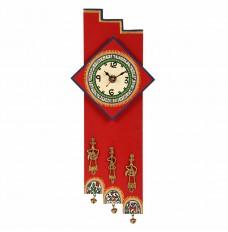 Antique Handpainted Warli and Dhokra Work Zigzag Clock