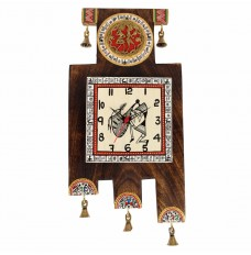 Antique Handcrafted Dhokra & Warli Handpainted Wooden Zig-Zag Clock