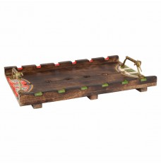 Handcrafted Table Décor Dhokra Work Wooden Tray With Animal Design Handle