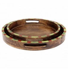 Set of 2 Round Mangowood Trays Table Décor
