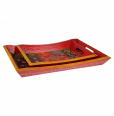 Set of 2 Handcrafted Rajasthani Trays Table Décor
