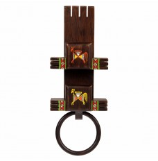 Ethnic Wooden Tooth Brush & Hand Towel Holder (14 Inches Tall)