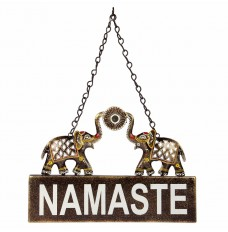 Ethnic Twin Elephant Namaste Sign Wall Décor