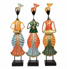 Multicolor Set of 3 Elegant Punjabi Musicians (20 Inches Tall)