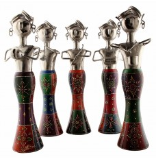 Set of 5 Elegant Handpainted Multicoloured Musicians (15 Inches Tall)