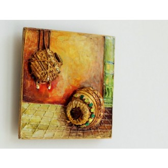 Decorative Matkis ( Set of 3 tiles hand-painted in mixed media)