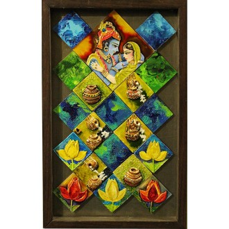 Divine Love - Radha Krishna (art - painting with movable magnetic tiles)