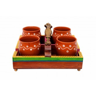 Ethnic Wooden 4 Cups Tray with Masai Woman Handle ( Without cups )