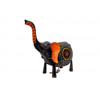 Elephant Ethnic Piggy Bank with raised Trunk