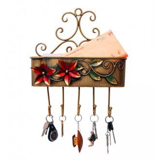 Ethnic Iron Basket with Five Key Holders ( 15 Inches Tall)