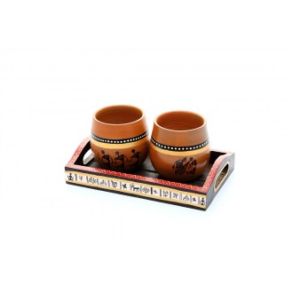 Chai cups with tray